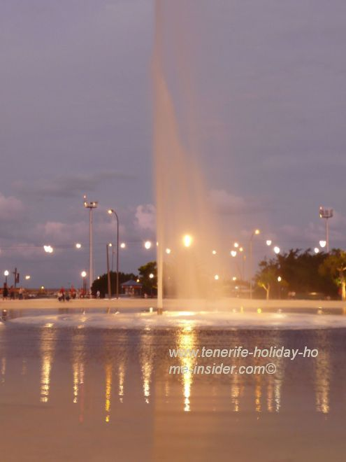 Magic lake illumination and fountain system of Plaza de Espana by the architects Herzog and de Meuron.