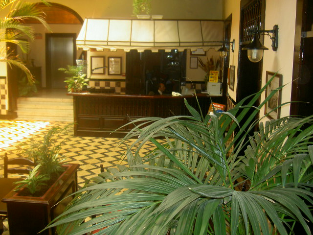 Welcoming hotel reception desk with canvas roof in Calle Quintana 11 of Puerto de la Cruz.