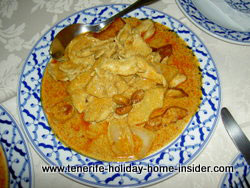 Massaman chicken Curry with pineapple and peanuts