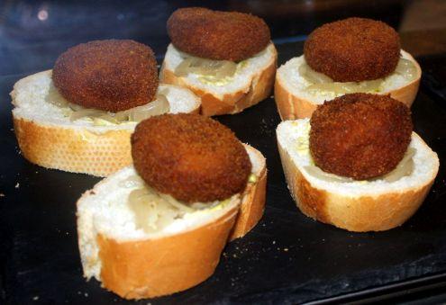 Meatball Pintxos on Mustard