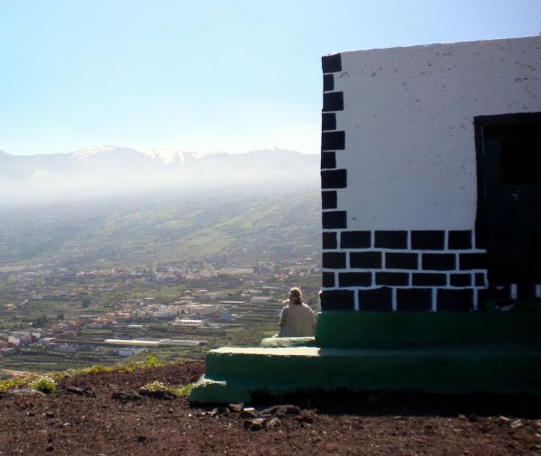 Woman meditating on Montana del Fraile