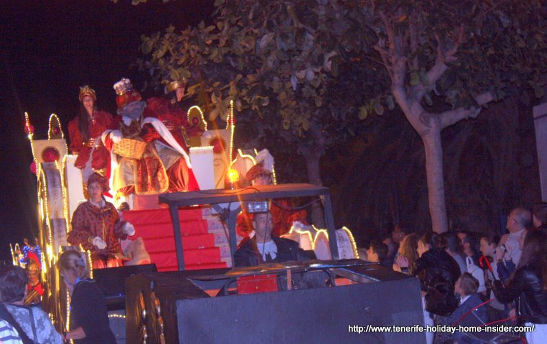 King Melchior on his float in Puerto de la Cruz in 2018