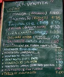 Menue blackboard La Ventita Bar and Shop