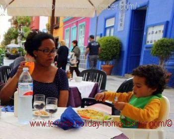Messy toddler at Restaurante Continental in Puerto Cruz