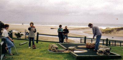 Mike playing mini golf SA Wild Coast Resort