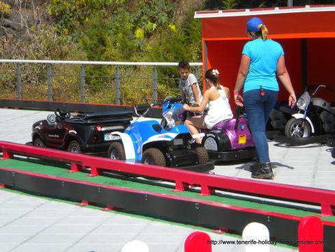 Mini carts on the Martianez mall roof in Puerto de la Cruz.
