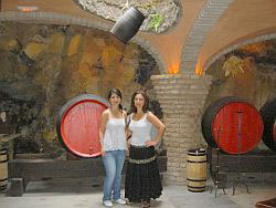 Monasterio wine cellar with tourist ladies