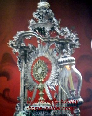 Monstrance with Corpus Christi Orotava the main procession focus of its church Iglesia de Inmaculata Concepcion.