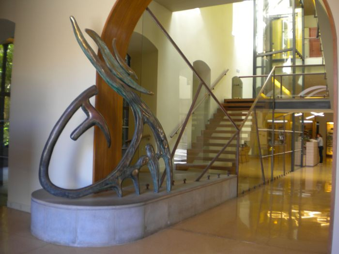 Museum of Nature and Man entrance with modern art sculpture at Santa Cruz.