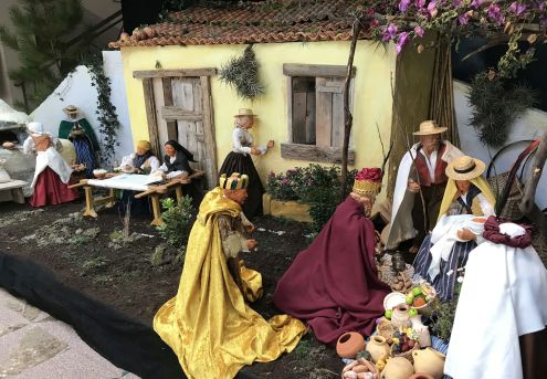 Nativity scenes a Belen in the Los Realejos Town Hall entrance by the children nook