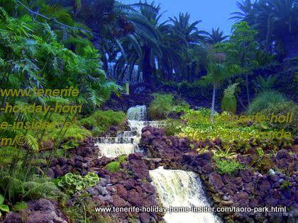Natural waterfalls Acantilados del Taoro, almost by the Jardines Atalaya