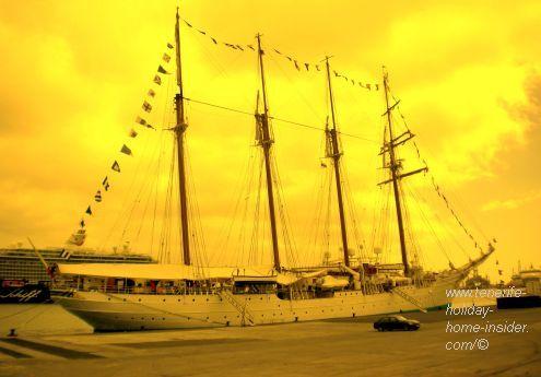 Navy sailing academy boat by the Tenerife free port of Santa Cruz.