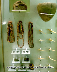 Neolithic tools, bead and shell jewelry of Tenerife  cavemen