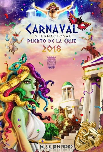 Puerto Cruz 2018 carnival poster with Greek theme.