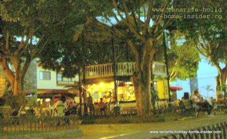Night scene in Garachico with main town square
