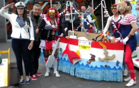 Novelty ship with carnival crew Tenerife