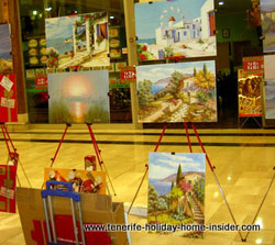 Oil paintings for art shopping Alcampo la Orotava Tenerife, as an event to celebrate the birth of Christ.