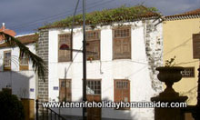 Old House in old town Los Realejos with Tabaiba on roof.
