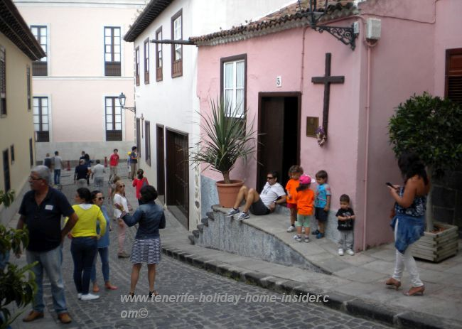 Old quarters La Orotava with house of open door on the day of Body of Christ celebration.