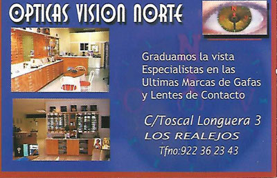 Optica Vision Norte Optomotrist of Toscal Realejos