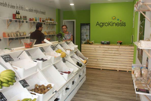 Organic food market co-operative with Agrokinesis certified produce straight from farms