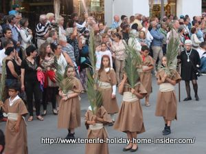 Tenerife palm Sunday Procession with children.