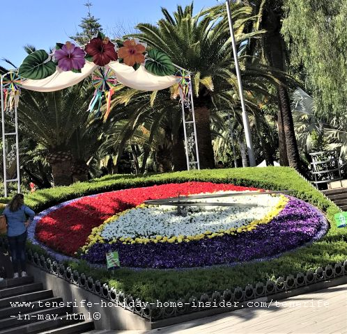 Parque Garcia Sanabria Tenerife in May during fiestas de mayo by its famous flower clock