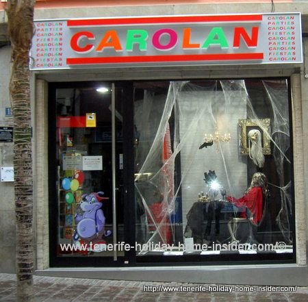 Party supply store Tenerife capital Santa Cruz for carnival and fiestas