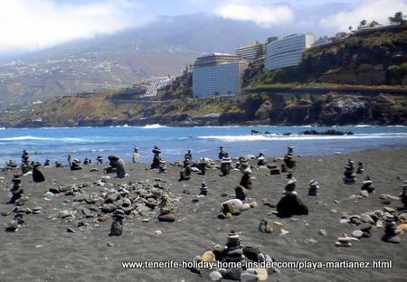 Pebble sculptures on the Martianez beach