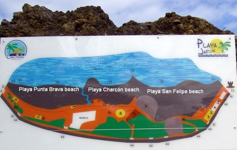 Playa Jardin with its 3 Tenerife beaches Playa San Felipe, Playa Charcón, Playa Punta Brava.
