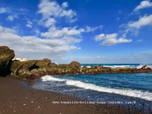 Playa Jardin beach Charcon of Puerto de la Cruz Tenerife Spain, contrary to the seashore with fine sand on the other side of its volcanic rocks