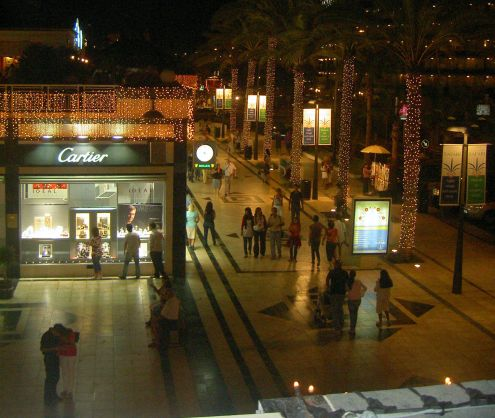 Playa de Las Americas shopping by moonshine.
