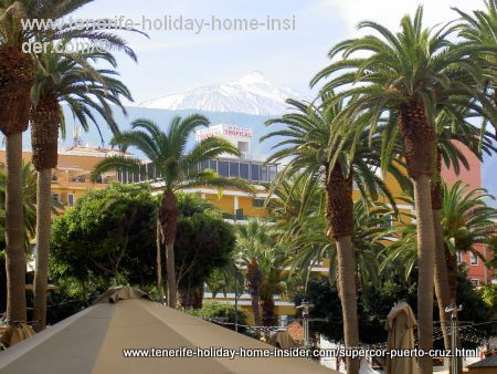 Plaza del Charco where the snow capped Teide can be seen from outside Supercor Puerto Cruz