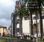 Plaza Garzia Perez with Body of Christ celebration carpets La Orotava