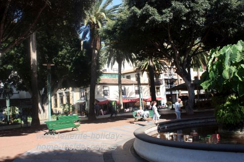 Plaza del Charco with its fountain called a Pila the center point of this Puerto de la Cruz town square.