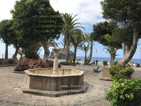 Plaza Santo Domingo Hospital garden with a fountain in an oasis for 70 resident patients of a minimum of three chronic illnesses