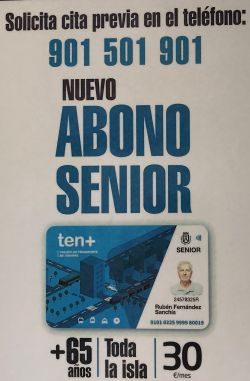 Poster with the telephone number and invitation to make a Cita Previa appointment for the Titsa Abono Senior +65 application