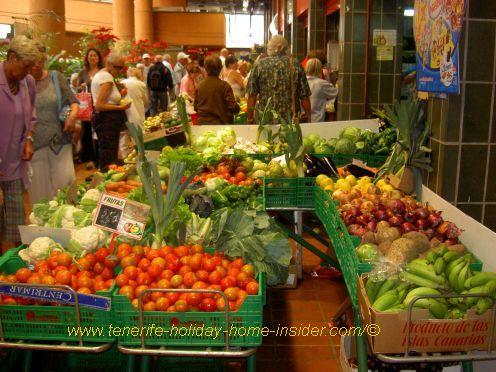 Puerto de la Cruz municipal Mercadillo with its fresh produce.