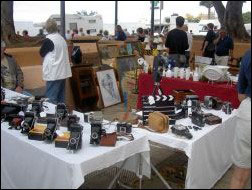 Tenerife flee market with display of antic camera equipment