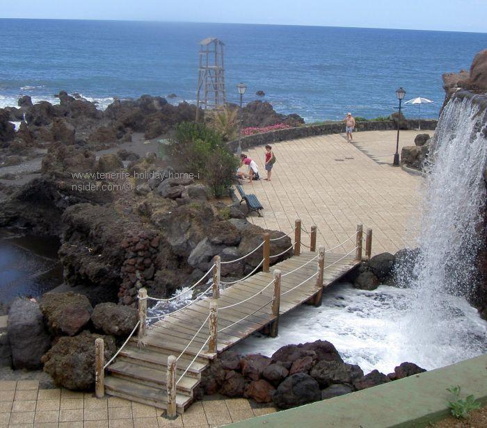 Punta Brava beach waterfall and bridge.