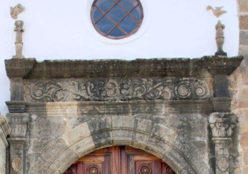 Artistic stone masonry from XVI above the portal of Church Iglesia de la Conception of the Realejo del Abajo.