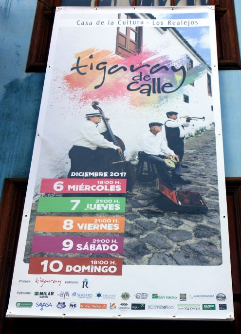 Poster with listed December Los Realejos street concerts.