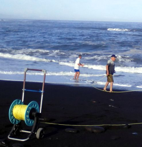 Rescue rope used to save a person from drowning in the ocean.