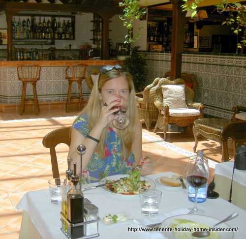 Hotel Rural Victoria La Orotava, while also depicted in its dining room is my happy companion who loved the place and the food
