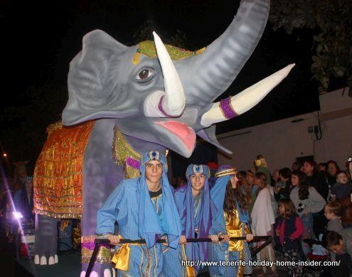 Reyes Magos Cabalgata with elephant float in Puerto de la Cruz