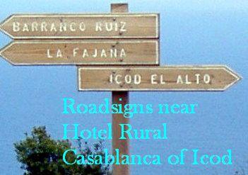 Road signs by TF 342 to Icod el Alto, La Fajana and Ruiz hiking path