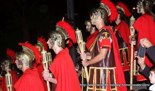 Roman soldiers portrayed by silent actors faced the big cannon waiting for the Magi to show up.