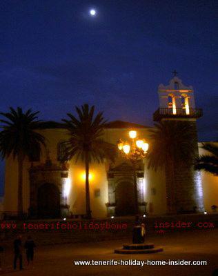 Romantic photo of Garachico in Tenerife at night