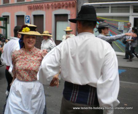 Romeria folk dancing in Tenerife street