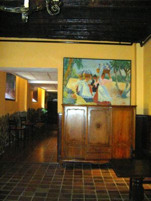 Room with harvest painting by lobby of hotel in Calle Quintana 11 of Tenerife Island.